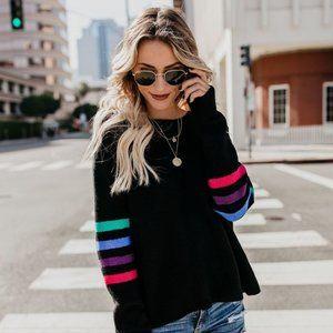 VICI Nostalgia Striped Knit Sweater Black - Small